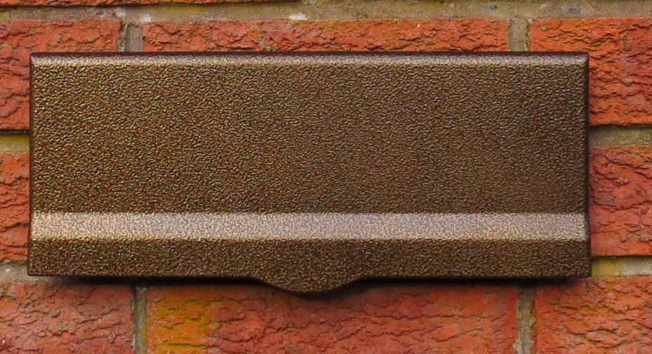 antique copper letterplate & Ryder large capacity letter box for mounting behind a brick wall or ...