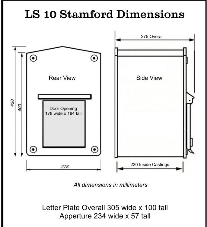 Stamford letter box for for a brick pier or pillar with for Letter size mail dimensional standards template